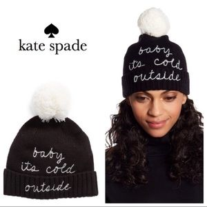 NWT Kate Spade Baby It's Cold Outside pom beanie